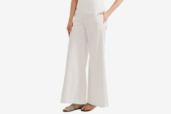 Joseph embroidered cotton wide-leg pants