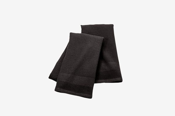 Crate and Barrel Black Terry/Waffle Weave Dish Towels