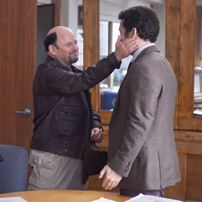 THE GRINDER: L-R: Natalie Morales, guest star Jason Alexander and Fred Savage in the