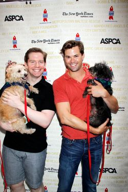Arrivals at the Broadway Barks! 14th Annual Animal Adoption Event on July 14, 2012 at Shubert Alley in New York City. <P> Pictured: Andrew Rannells and Rory O'Malley <P> <B>Ref: SPL416805  140712  </B><BR/> Picture by: ST / Splash News<BR/> </P><P> <B>Splash News and Pictures</B><BR/> Los Angeles:	310-821-2666<BR/> New York:	212-619-2666<BR/> London:	870-934-2666<BR/> photodesk@splashnews.com<BR/> </P>