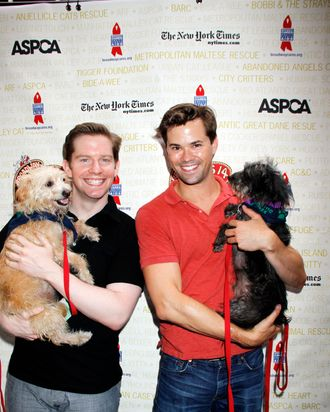Arrivals at the Broadway Barks! 14th Annual Animal Adoption Event on July 14, 2012 at Shubert Alley in New York City.
