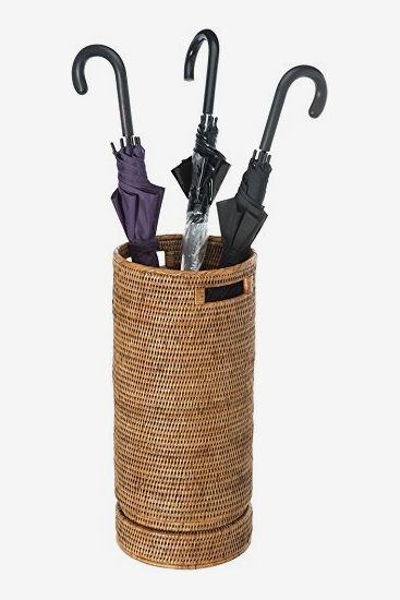 Kouboo La Jolla Handwoven Rattan Umbrella Stand with Water Catch