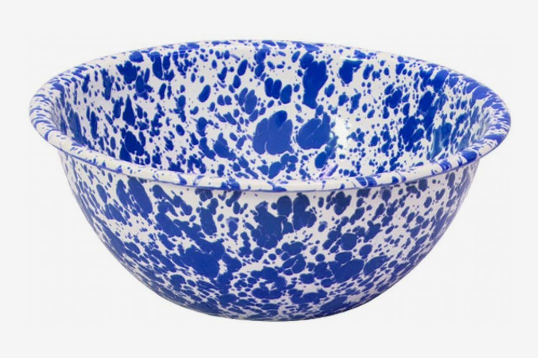 Crow Canyon Home Enamelware Serving Bowl - Blue Marble