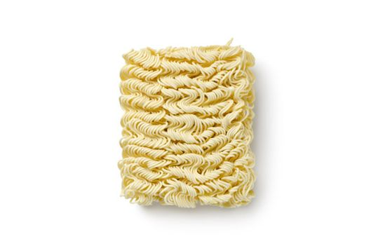 Noodles of fast preparation isolated on a white background