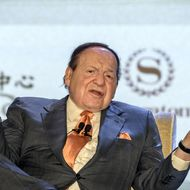 Las Vegas casino boss Sheldon Adelson gestures during press conference in Macau on September 20, 2012.  Adelson unveiled plans to build a scaled down replica of the Eiffel Tower as part of a new 3 billion USD gambling resort in Macau.
