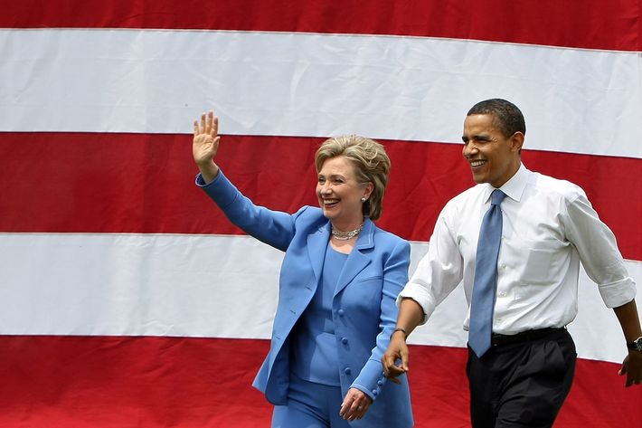 Democratic presidential candidate Sen. Barack Obama (D-IL) and Sen. Hillary Rodham Clinton (D-NY) wave to the crowd June 27, 2008 in Unity, New Hampshire. Obama and Clinton appeared together in a show of unity for Obama's presidential campaign.