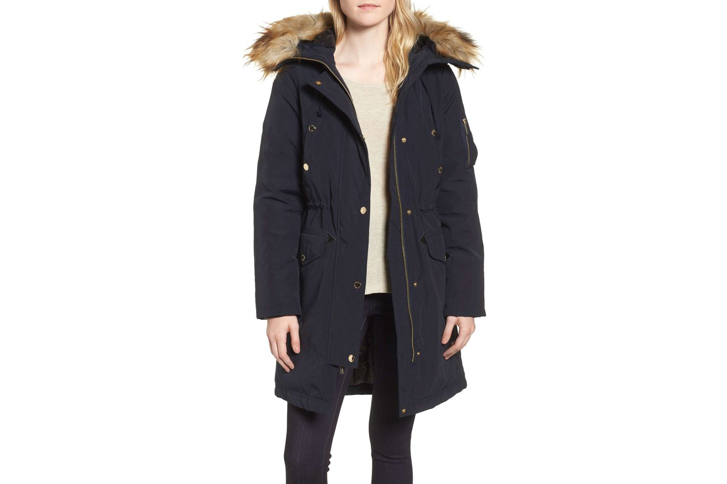 Michael Michael Kors Water Resistant Snorkel Coat With Faux Fur Trim
