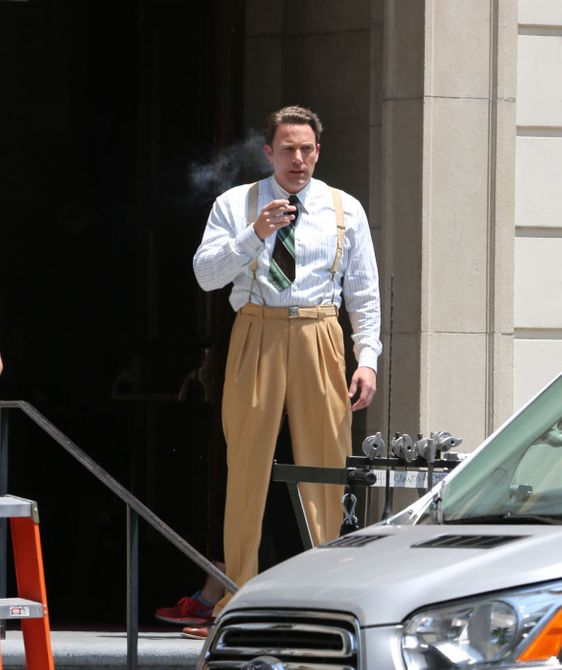 Ben Affleck spotted taking a smoke break while in costume and on set in Pasadena for Live By Night, a film in which he both acts and directs