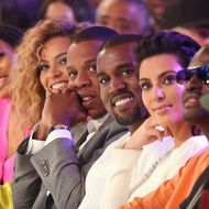 LOS ANGELES, CA - JULY 01:  (L-R) Singer Beyonce, rappers Jay-Z and Kanye West and television personality Kim Kardashian attend the 2012 BET Awards at The Shrine Auditorium on July 1, 2012 in Los Angeles, California.  (Photo by Christopher Polk/Getty Images For BET)