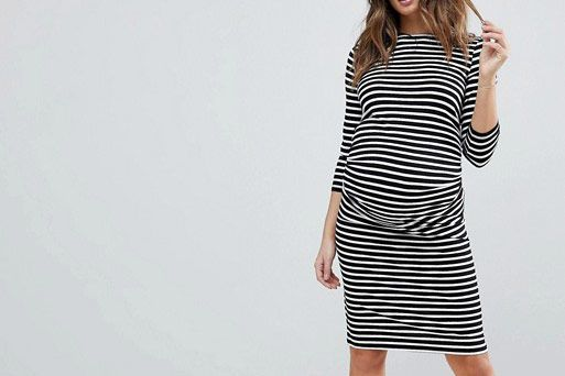 ASOS New Look Maternity Stripe Ruched Side 3/4 Length Sleeve Dress