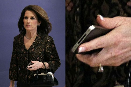 "In early 2011, Bachmann's style begins to shift. She wears a squared-off French-tip acrylic manicure, which she will keep for the duration of her presidential campaign. For a woman who <a href=""http://articles.chicagotribune.com/2006-11-29/features/0611290056_1_dress-election-night-high-heels"">once bragged</a> about buying skirt suits for $39, the brocade suit Bachmann wears here, for a briefing on U.S. military action in Libya, is rather luxe."