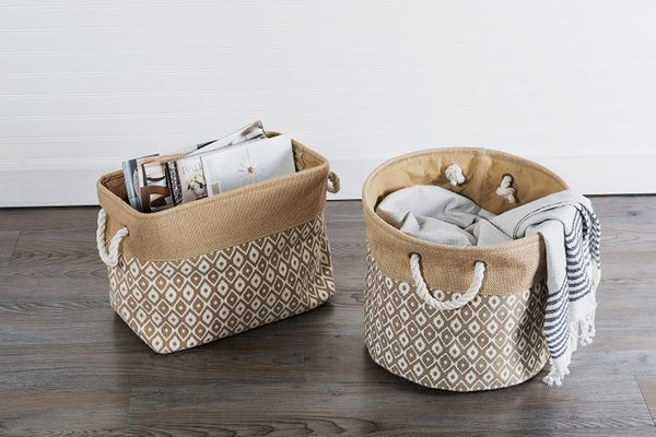 DII Collapsible Burlap Storage Basket (Brown Ikat, Small)