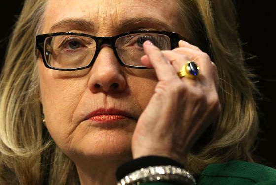 WASHINGTON, DC - JANUARY 23:  U.S. Secretary of State Hillary Clinton testifies before the Senate Foreign Relations Committee on Capitol Hill January 23, 2013 in Washington, DC. Lawmakers questioned Clinton about the security failures during the September 11 attacks against the U.S. mission in Benghazi, Libya, that led to the death of four Americans, including U.S. Ambassador Christopher Stevens. (Photo by Alex Wong/Getty Images)