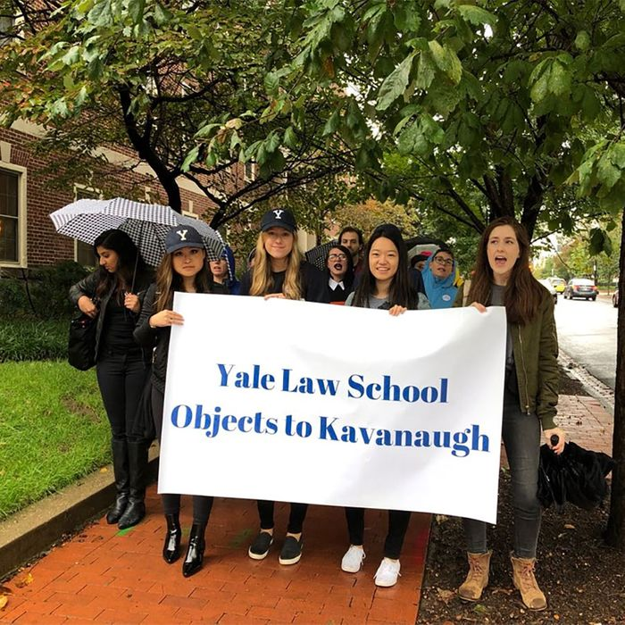 Yale Law School students protesting Brett Kavanaugh.