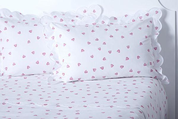D.Porthault Coeurs Pink King Duvet