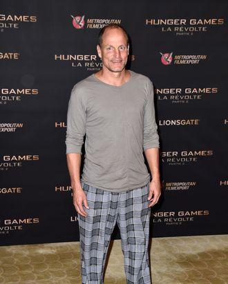 A custom Woody Harrelson pajama look.