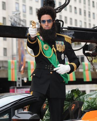 British actor and director Sacha Baron Cohen and others arrives for the UK premiere of the film 'The Dictator' in London on May 10, 2012.
