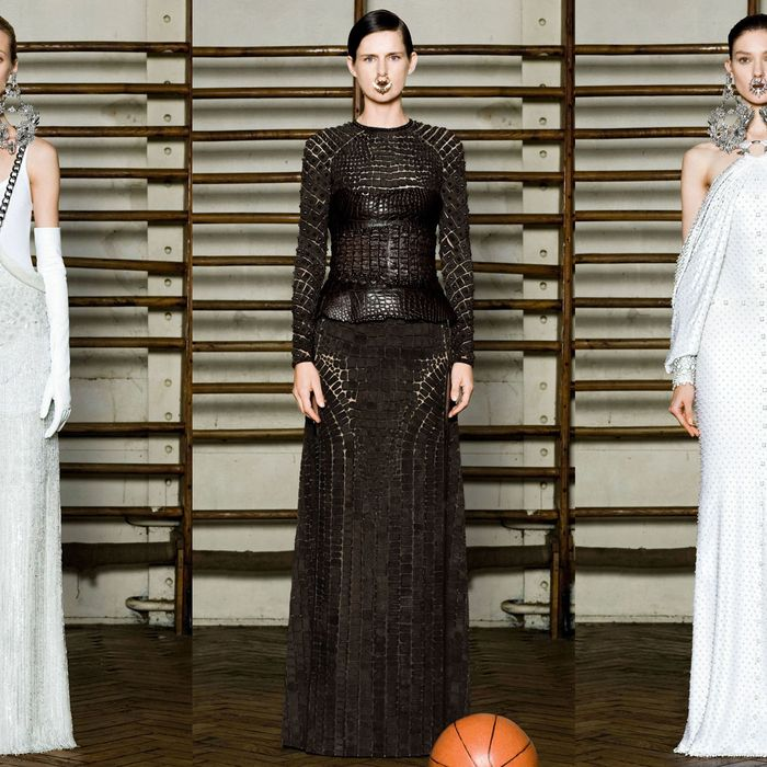 New Givenchy couture! No, we can't explain the basketball.