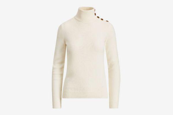 Ralph Lauren Collection Button Cashmere Turtleneck