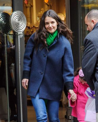 Katie Holmes. That's Suri in the pink.