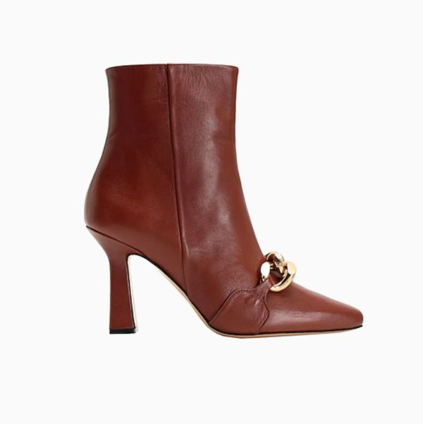 8 By Yoox Leather Chain Detail Ankle Boot