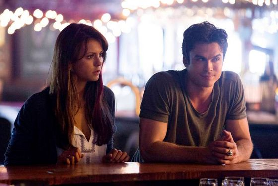 "The Vampire Diaries -- ""Original Sin"" -- Image Number: VD503a_0118.jpg — Pictured (L-R): Nina Dobrev as Elena and Ian Somerhalder as Damon -- Photo: Bob Mahoney/The CW -- © 2013 The CW Network, LLC. All rights reserved"