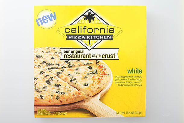 "<b>White Pizza</b>    <a href=""http://www.cpkfrozen.com/ctc-white.html"">California Pizza Kitchen</a>    The nationwide chain's white pizza is basic, but that's not a bad thing at all; it means you can doctor it however you want. It's awesome with Sriracha, which brings out the garlicky white sauce."