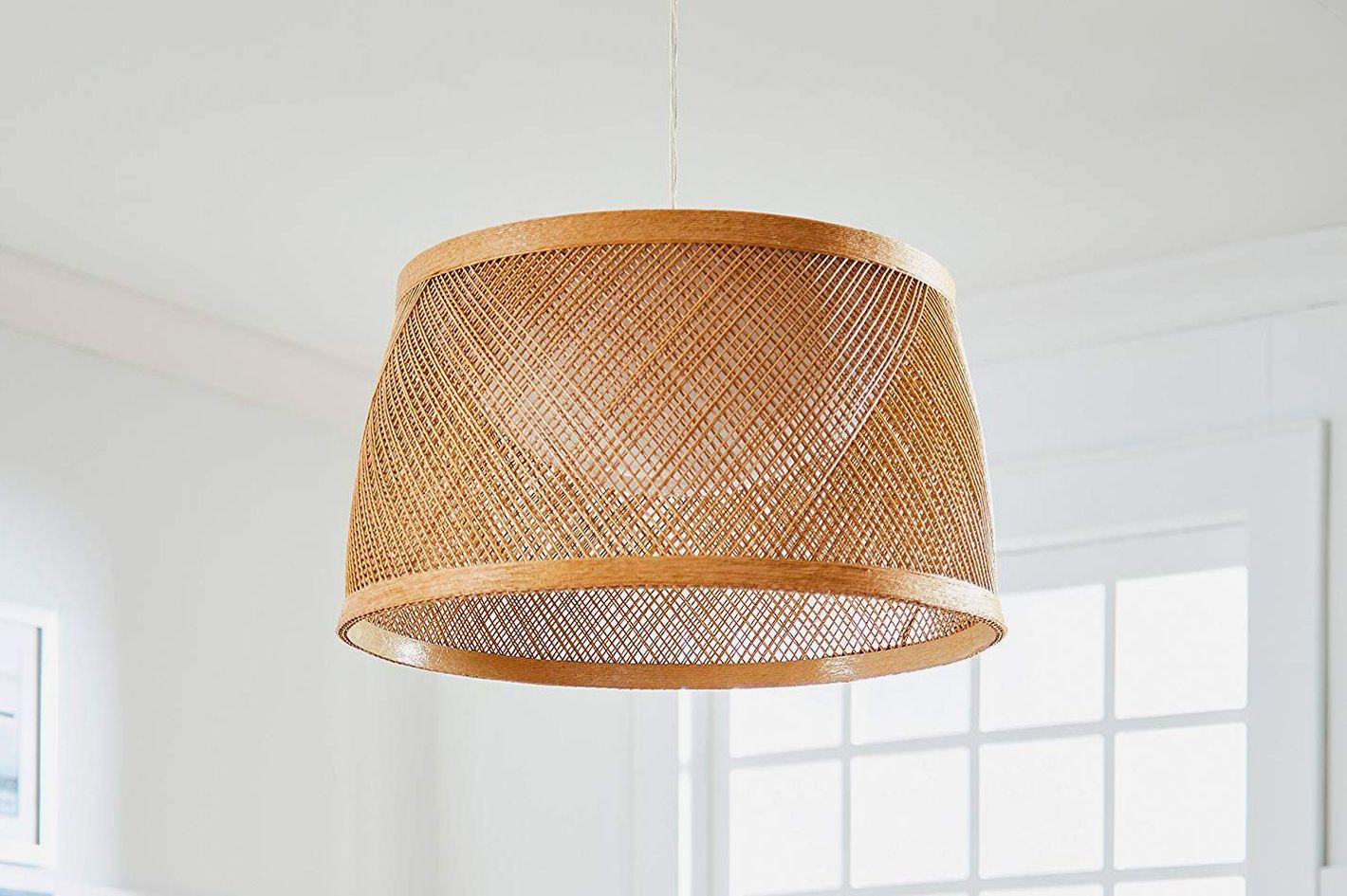 Stone & Beam Modern Coastal Raffia Chandelier, with LED Board