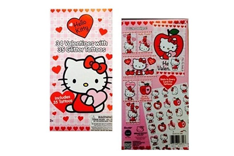 Hello Kitty Valentines With Glitter Tattoos
