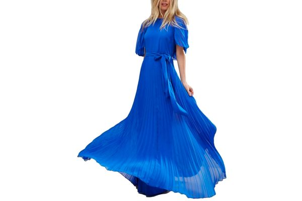 ASOS Flutter Sleeve Pleated Maxi Dress