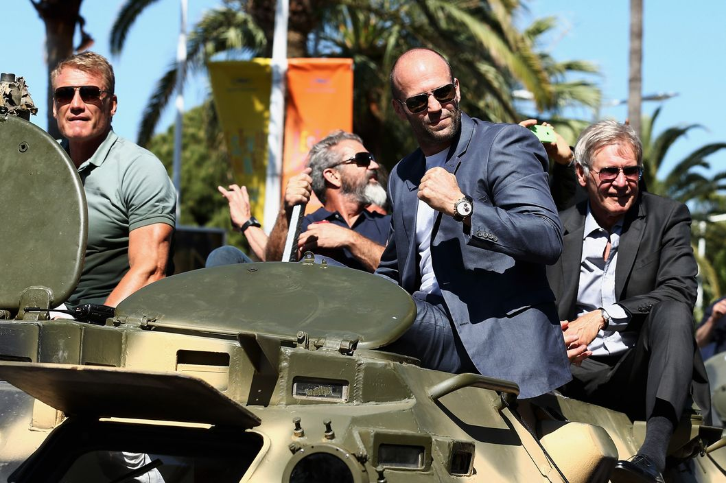 "CANNES, FRANCE - MAY 18:  Actors Jason Statham and Harrison Ford attend ""The Expendables 3"" photocall during the 67th Annual Cannes Film Festival on May 18, 2014 in Cannes, France.  (Photo by Andreas Rentz/Getty Images)"