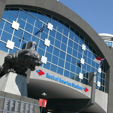 A view of the exterior of the Bank of America Stadium taken before the game between the New Orleans Saints and the Carolina Panthers at Bank of America Stadium on September 11, 2005 in Charlotte, North Carolina.