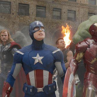 """Marvel's The Avengers"" L to R: Black Widow (Scarlett Johansson), Thor (Chris Hemsworth), Captain America (Chris Evans), Hawkeye (Jeremy Renner), Iron Man (Robert Downey Jr.), and Hulk (Mark Ruffalo)."
