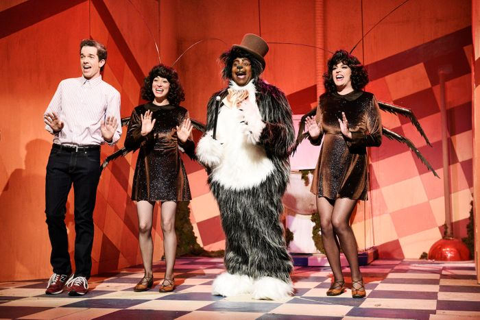 John Mulaney, Melissa Villaseñor, Kenan Thompson, and Cecily Strong in the
