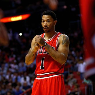 Derrick Rose #1 of the Chicago Bulls looks on during a game against the Miami Heat at American Airlines Arena on April 7, 2016 in Miami, Florida.