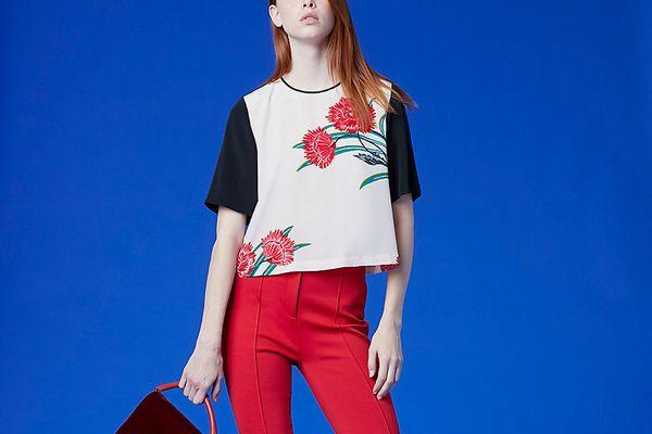 Diane von Furstenberg Cropped Woven T-shirt