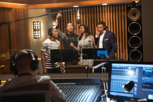 "EMPIRE: The Lyon family comes together to record a legacy album in the ""The Lyon's Roar"" episode of EMPIRE airing Wednesday, Feb. 25 (9:01-10:00 PM ET/PT) on FOX. Pictured L-R: Bryshere Gray, Jussie Smollett, Taraji P. Henson and Terrence Howard. ?2015 Fox Broadcasting Co CR: Chuck Hodes/FOX"