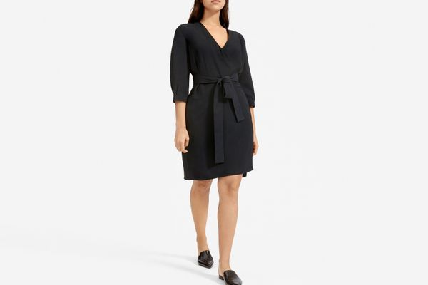 Everlane Japanese GoWeave Long-Sleeve Mini Wrap Dress