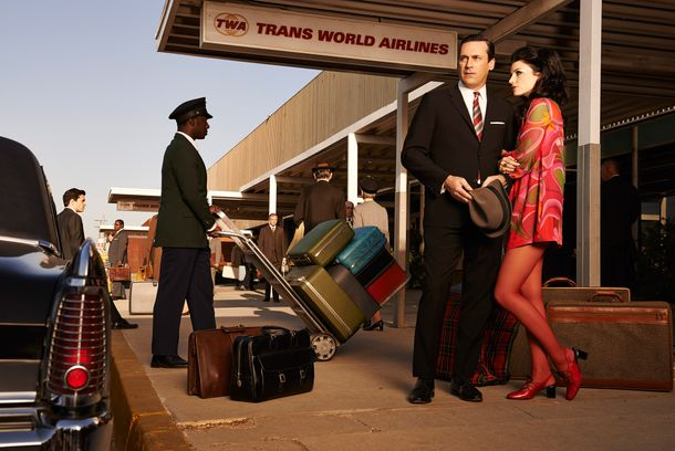 Don Draper (Jon Hamm) and Megan Draper (Jessica Pare) - Mad Men _ Season 7, Gallery - Photo Credit: Frank Ockenfels 3/AMC