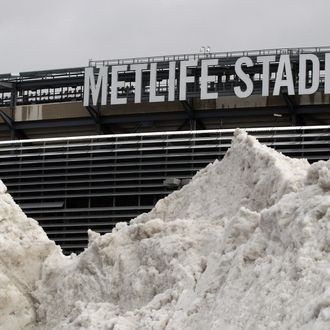 In this Dec. 15, 2013 file photo, a mound of snow is shown outside of MetLife Stadium before an NFL football game between the Seattle Seahawks and the New York Giants, in East Rutherford, N.J. NFL officials may be embracing the notion of a cold-weather Super Bowl, but seriously: What happens if there is, in fact, a snow storm on Feb. 2? (AP Photo/Peter Morgan, File)