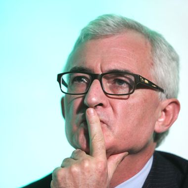 John Makinson, chairman and chief executive officer of Penguin Group, pauses at the Digital Media and Broadcasting Conference in London, U.K., on Tuesday, March 2, 2010. WPP Plc Chief Executive Officer Martin Sorrell forecast organic growth for the world's largest network of ad agencies in the second quarter even as clients are still cutting costs.