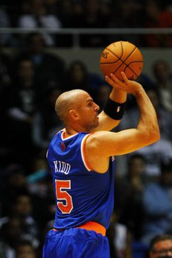 Jason Kidd #5 of the New York Knicks shoots against the Brooklyn Nets.
