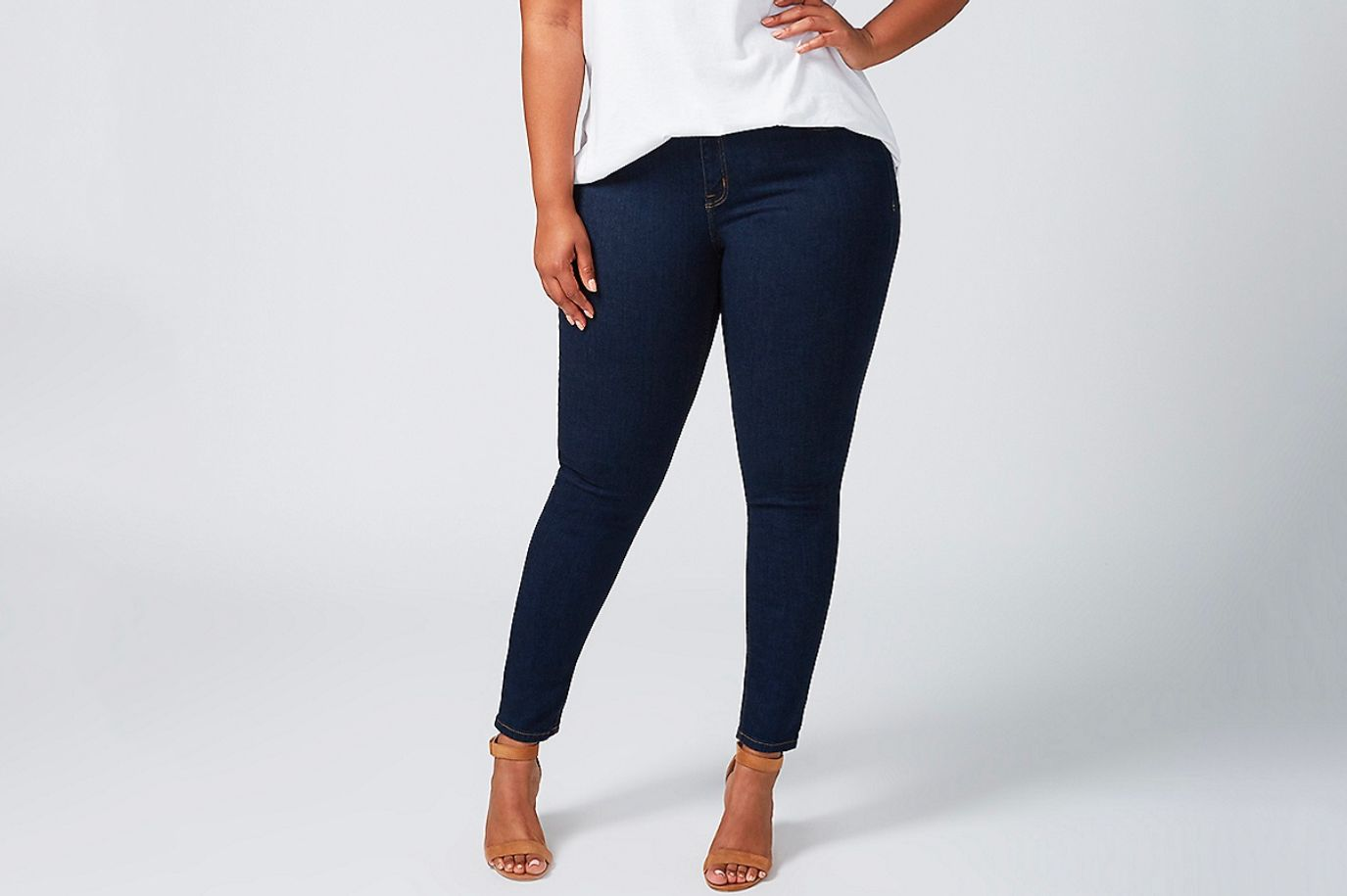 14ac936995 Best plus-size jeans for chub rub. Lane Bryant Super Stretch Skinny ...
