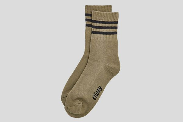 Stüssy Striped Crew Sock in Taupe