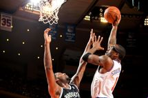 Amar'e Stoudemire #1 of the New York Knicks shoots in the lane against Andray Blatche #0 of the Brooklyn Nets on January 21, 2013 at Madison Square Garden in New York City.