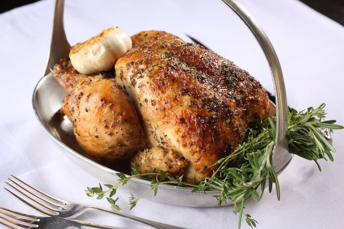 One of the Pennsylvania-bred birds served at Rotisserie Georgette.