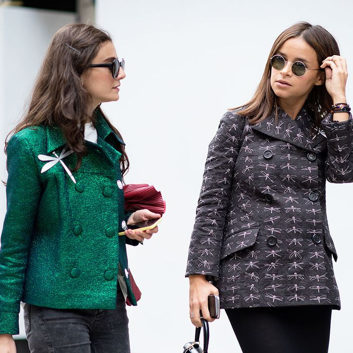 Natalia Alaverdian (left) with Miroslava Duma wearing A.W.A.K.E.