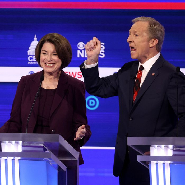 From left to right: Joe Biden, Amy Klobuchar, and Tom Steyer at the February primary debate in Charleston, South Carolina.