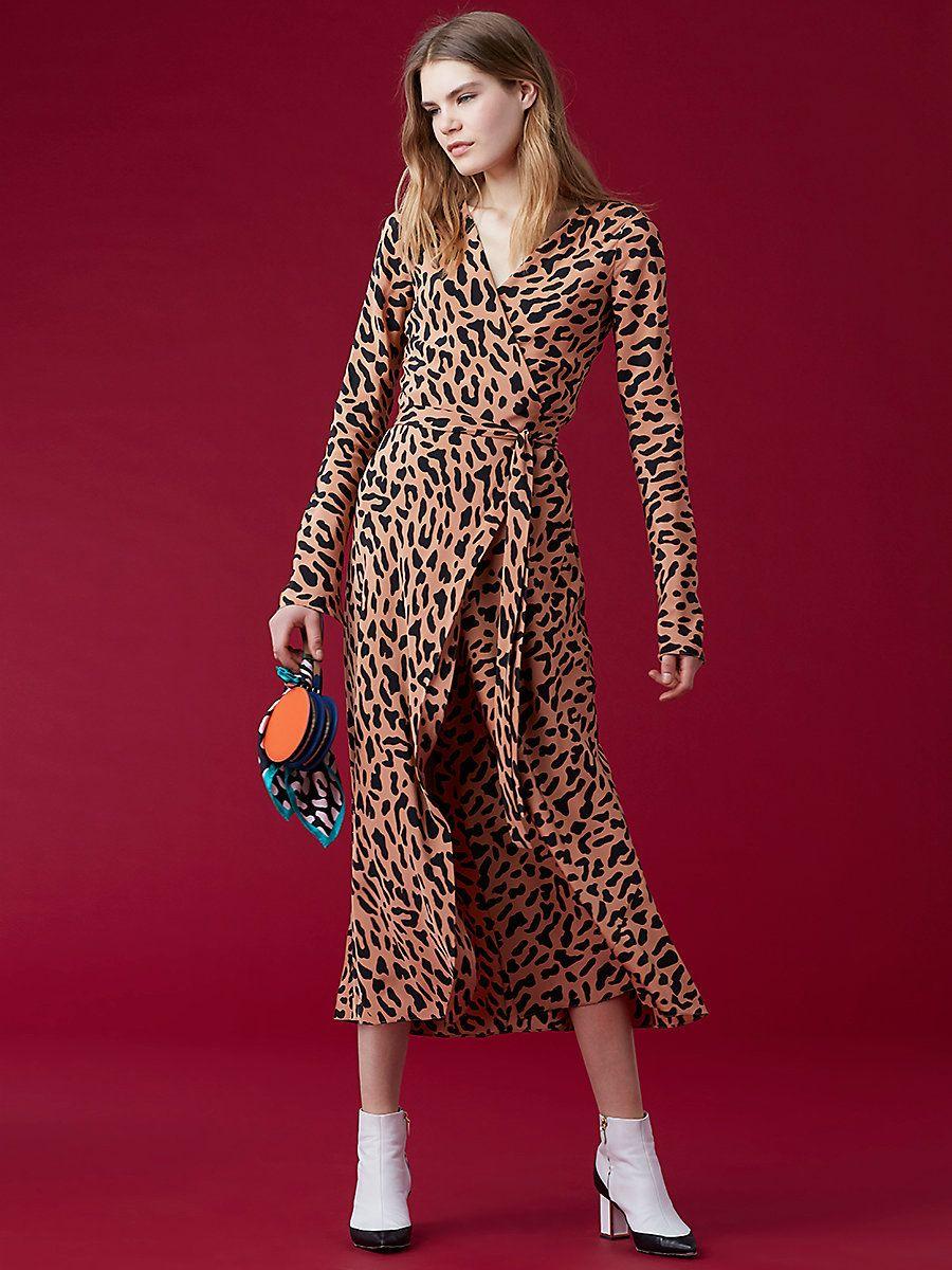 Long-Sleeve Woven Wrap Dress, Belmont Camel