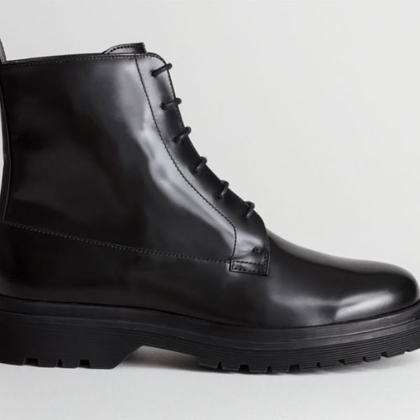 Lace-Up Leather Snow Boots